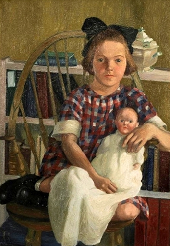 The Young Catherine Adams, Seated Holding A Doll