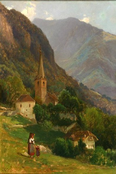 Village In The Swiss Alps - Mother And Child In An Alpine Landscape