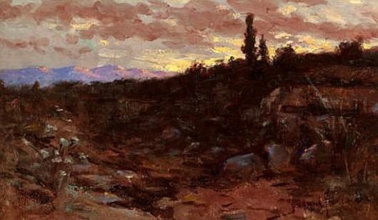 Western Sunset Landscape At Dusk