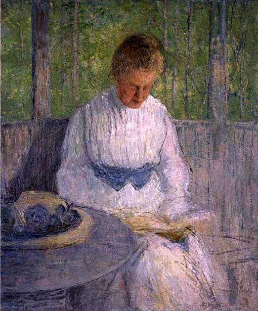 Woman In White Reading (Mrs. Weir)