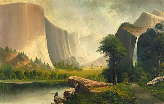 Yosemite, California Landscape With Man Fishing Off A Rock, Indian Walking On Footpath