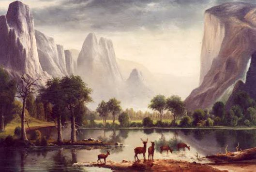 Yosemite Landscape With Elk In The Foreground
