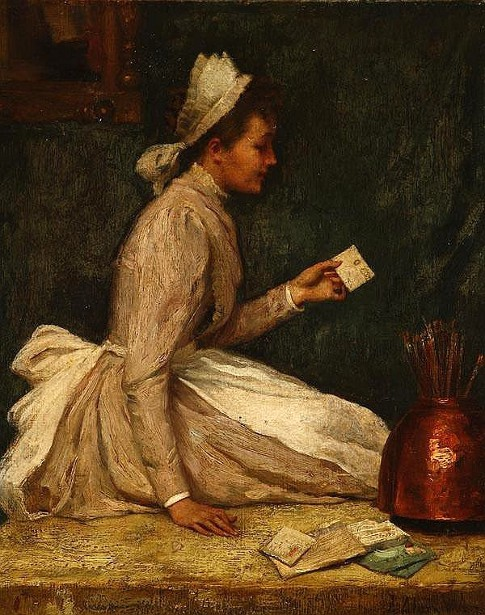 Young Maid Reading A Postcard