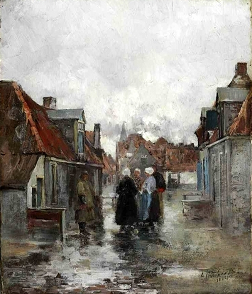 A Dutch Street Scene With Gathering Figures