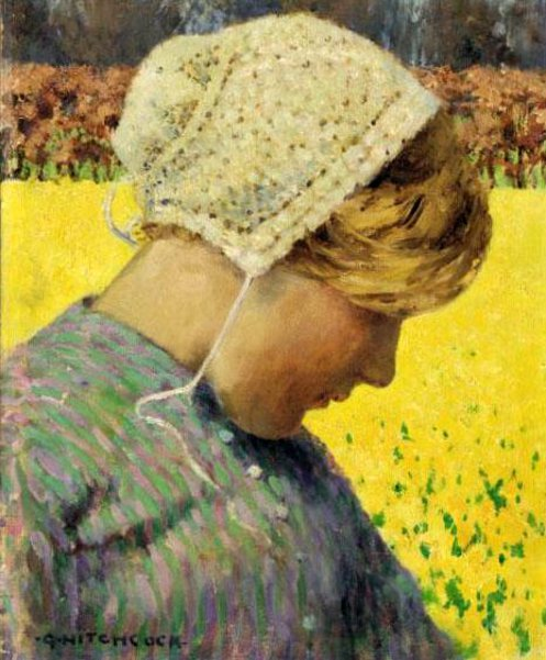 Dutch Girl Before A Daffodil Field