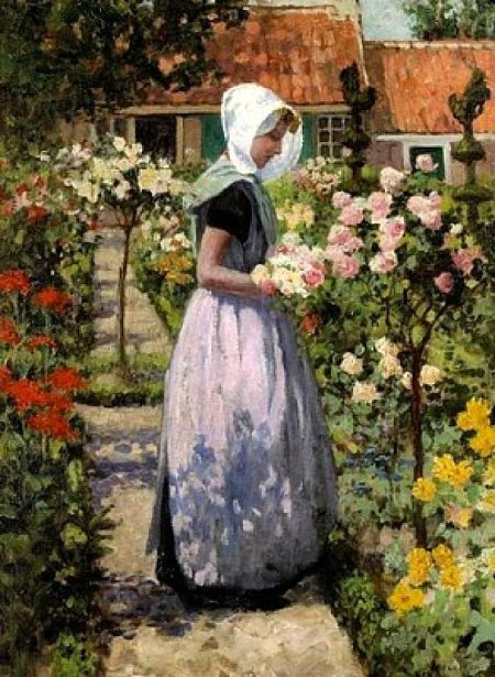 Dutch Woman In A Garden