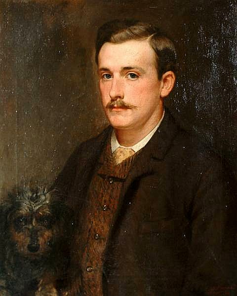 Edmund Denham Spurrell With His Dog, Ruff