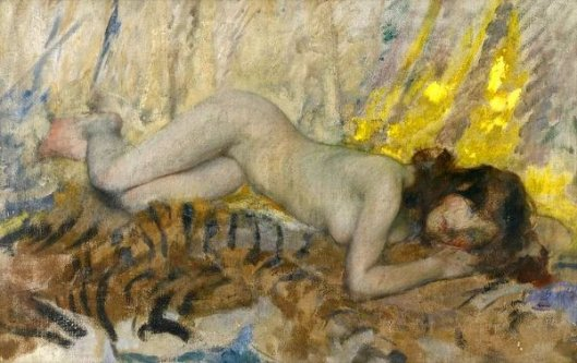 Nude On A Tiger Skin