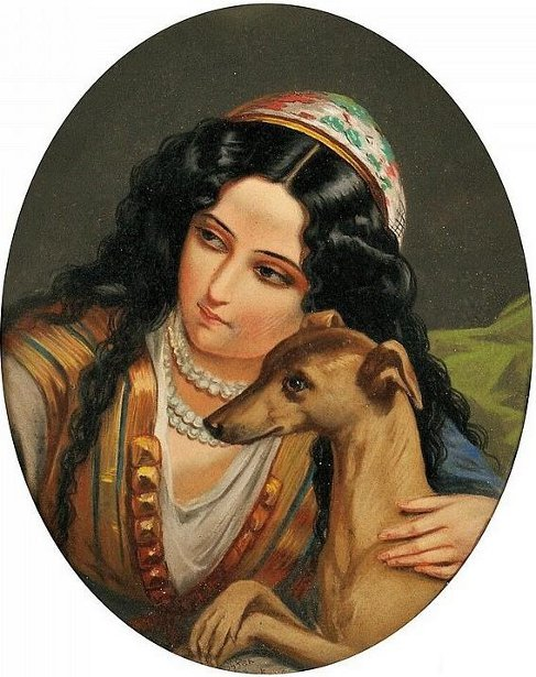 Oriental Woman With A Dog