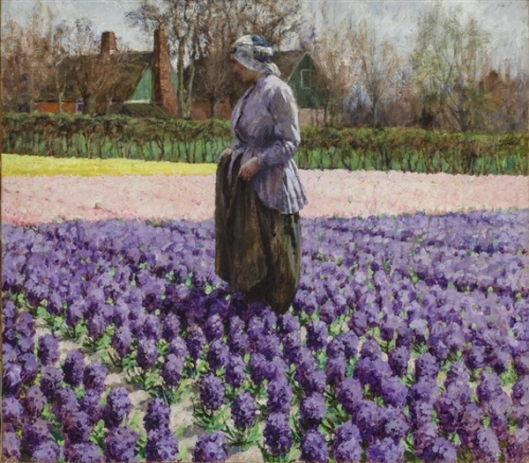 Peasant Woman Standing In A Hyacinth Bed - A Field Of Hyacinths, Holland
