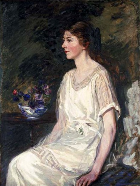 Pierre Collins In A White Dress, By A Bowl Of Flowers
