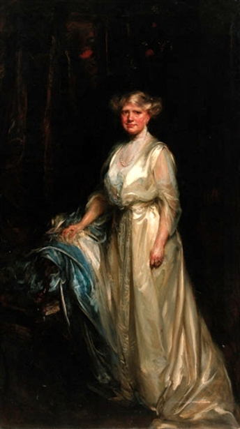 Portrait Of A Lady In A Cream Dress