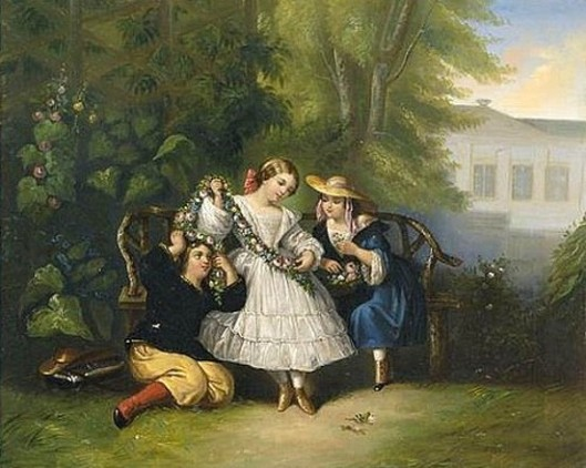 Three Young Girls In A Garden