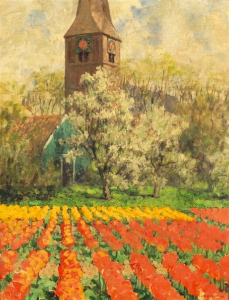 Tulip Fields With Orchard And Clock Tower