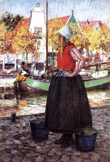 Woman Along Canal - Young Dutch Girl