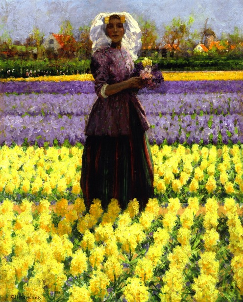 Woman In A Field Of Hyacinths