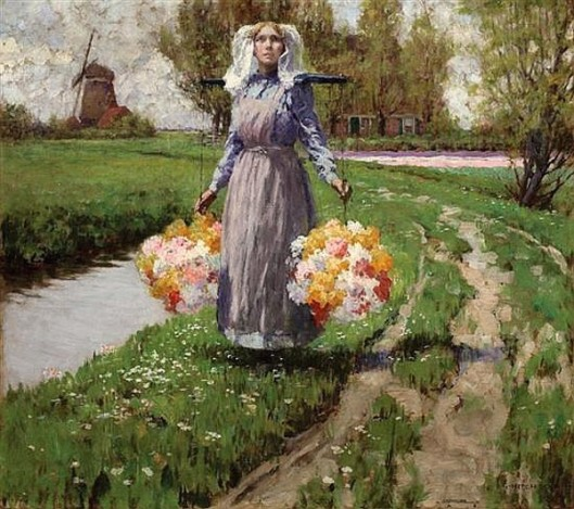 Young Maiden With Flowers