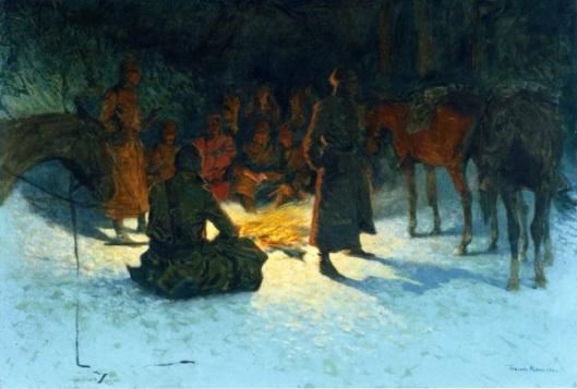 A Halt In The Wilderness - Halt Of A Cavalry Parol To Warm