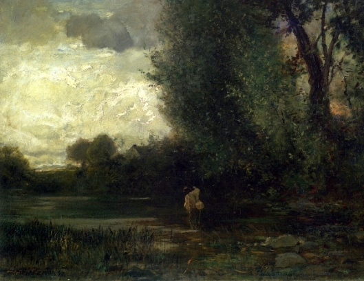 Angler By Forest Stream