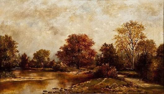 Autumn Landscape By A Creek