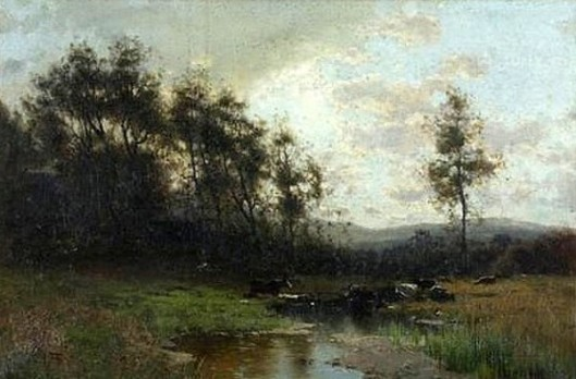 Cattle Watering In A Stream