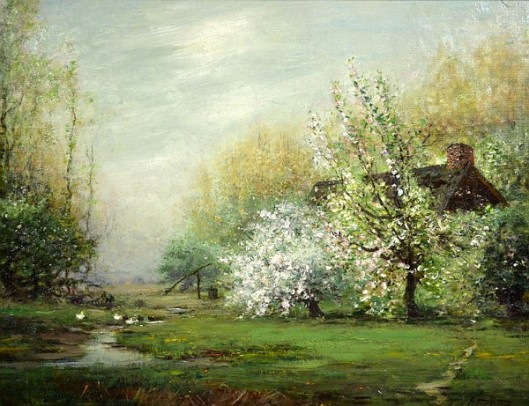 Cottage In Apple Blossoms