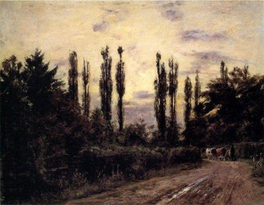 Evening, Poplars And Roadway Near Schleissheim