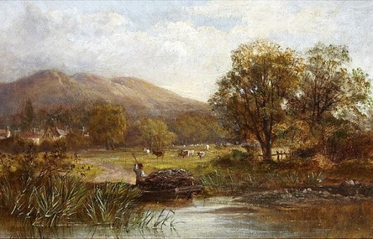 Farmer Tending Trap In The River With Cows Grazing