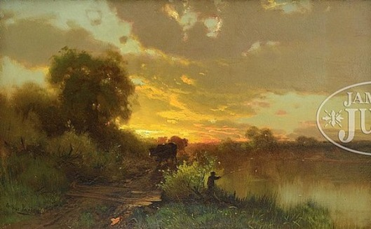 Fisherman And Cows In Sunset Landscape