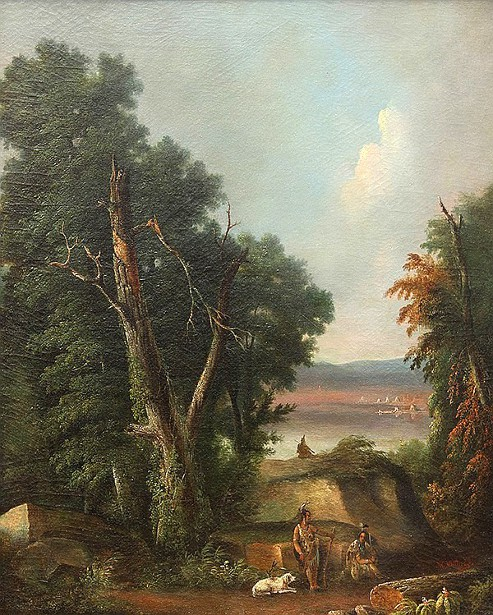 Forest And Lake Scene With Indian Encampment