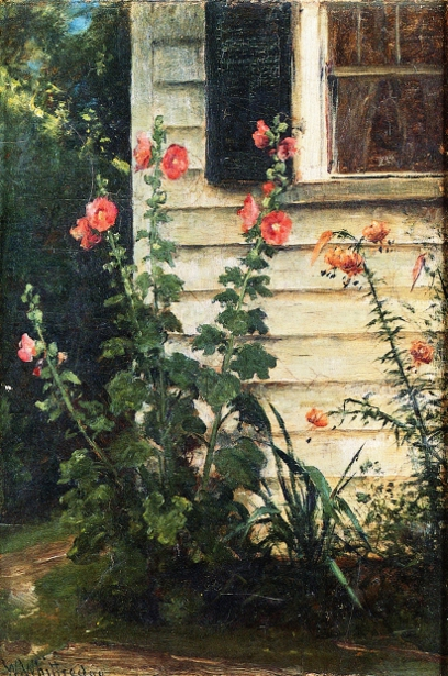 Hollyhocks And Daylilies