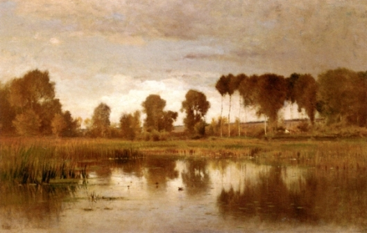 Landscape With Pond And Poplars