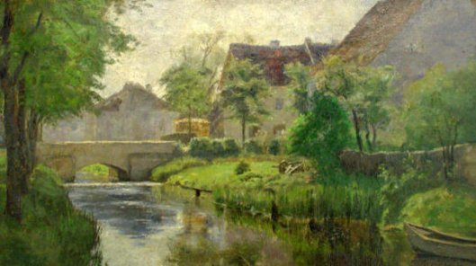 Munich Village Scene With Stream