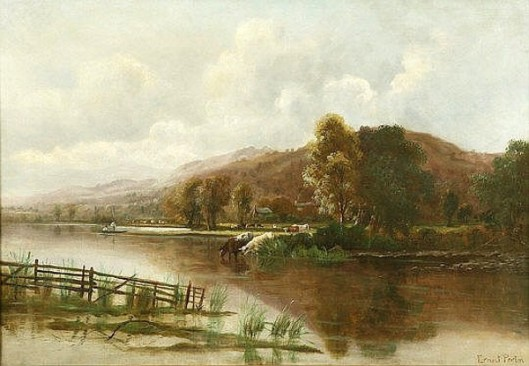 On The Derwent - River Landscape With Figures In A Punt And Cattle