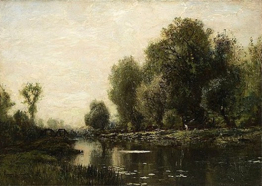 River Landscape With Fisherman