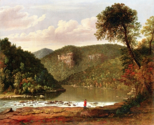 River Landscape With Hunter And Dog