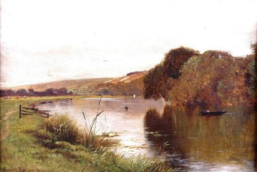 River Landscape With Small Boat