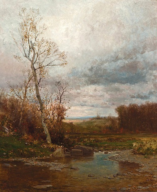 Rocky Stream In Autumn