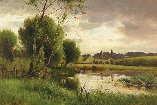Scenery On A Sunlit River With Cows Grazing