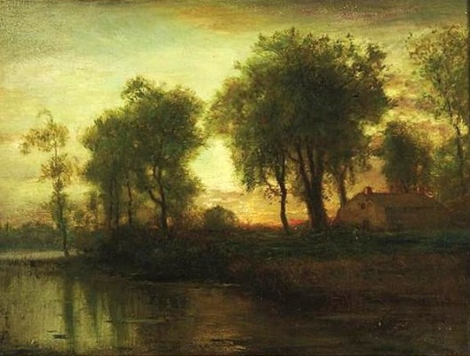 Sunset River Landscape With House