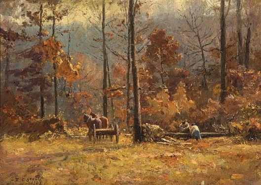 Woodcutters Working With Horses In An Autumn Forest