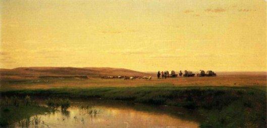 A Wagon Train On The Plains, Platte River
