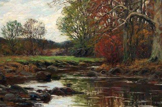 Autumn - Pasture, Stream And Trees