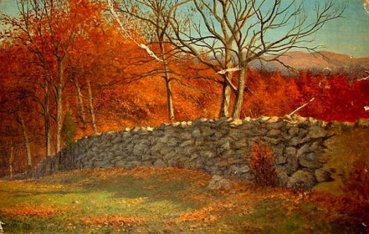 Fall Landscape With Stone Fence