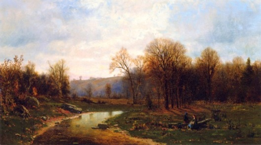 Figures By A River In An Autumnal Landscape