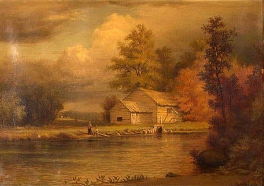 Landscape With Barn And Boy Fishing In A Stream