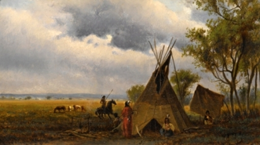 Landscape With Teepee And Indians