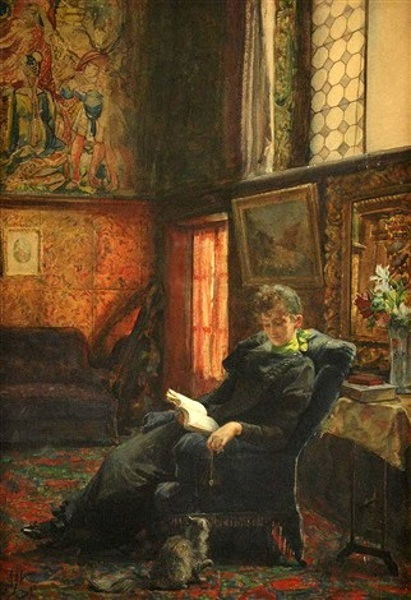 Pensive Woman Reading A Book