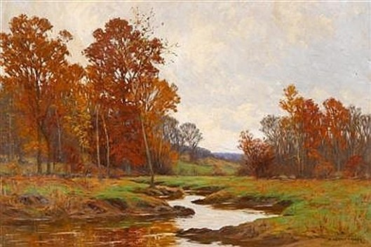 Trees By A River, Autumn