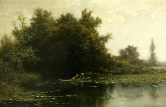Two Figures In A Rowboat